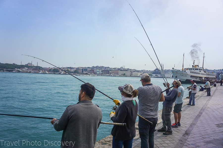Fishing in Kadikoy area of Istanbul along the waterfront