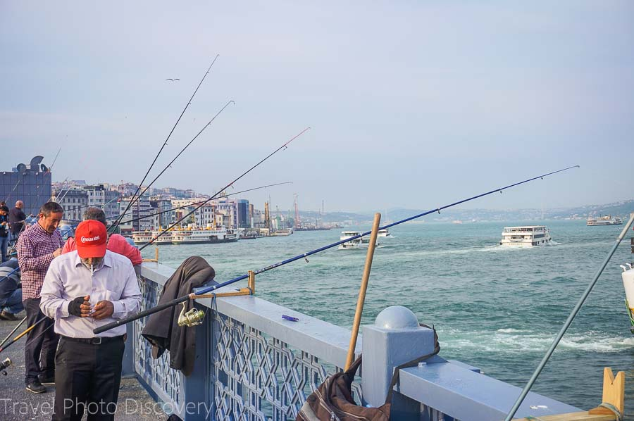 Fishing on the Galata bridge in Istanbul
