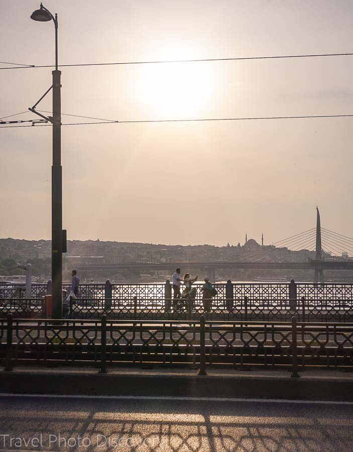 Crossing the Galata bridge in central Istanbul