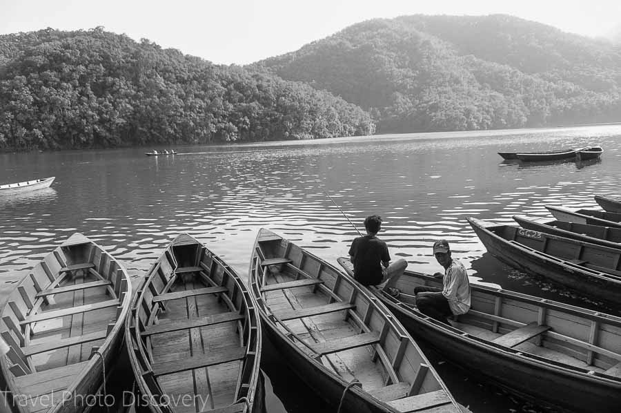 Fewa lake and boatmen for hire around the lake at Pokhara