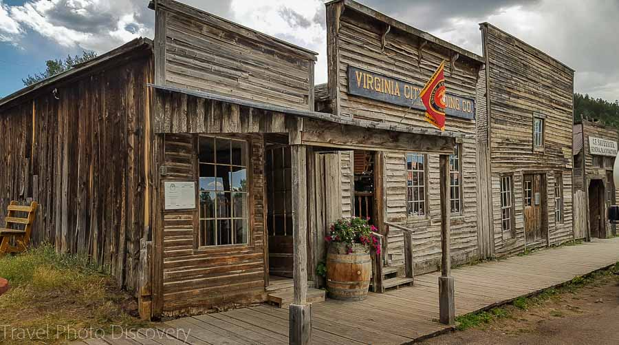 Old town board walk and store fronts in Virginia City Montana