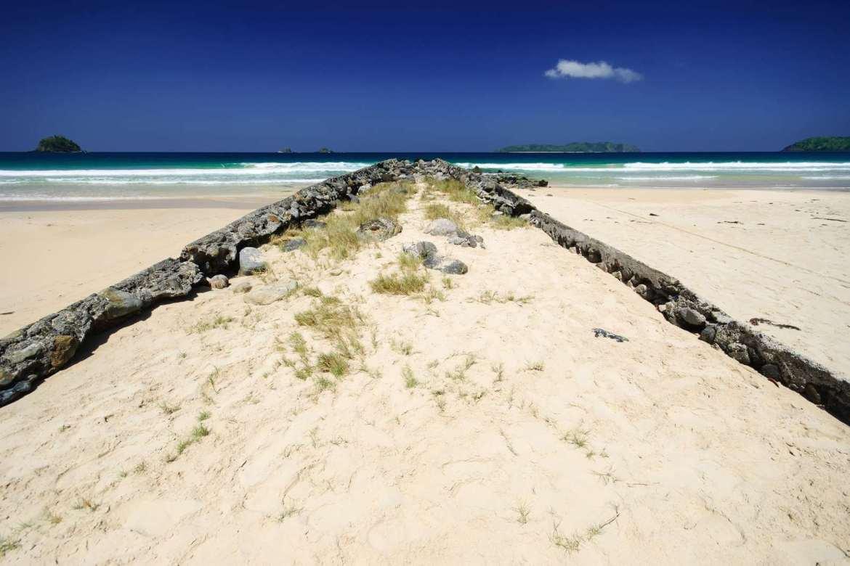 Remnants of the old pier at Nacpan Beach, El Nido