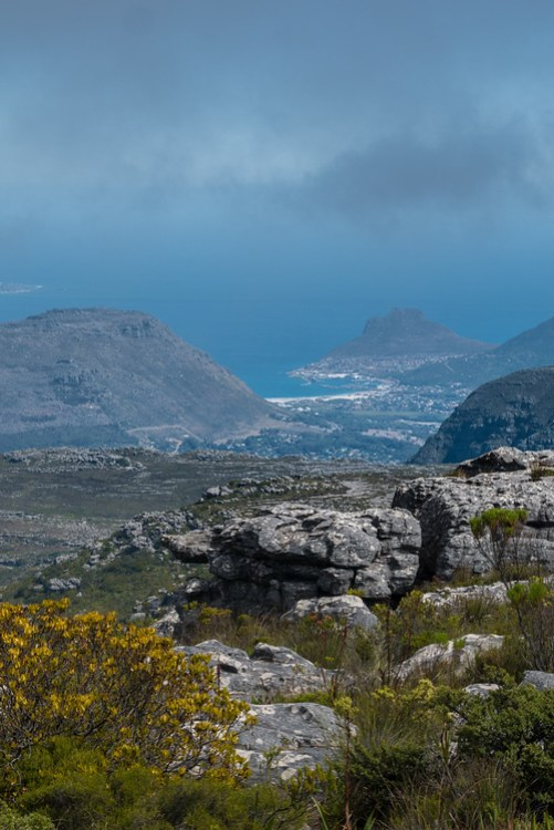 The view of Cape Point from Table Mountain, Cape Town.