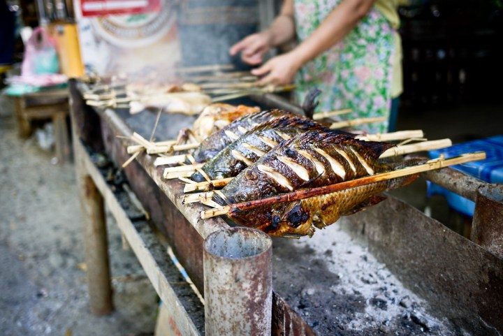 Grilled fresh fish from the river in Luang Prabang, Laos