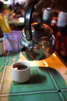 Free Chinese tea on the table at our street-side table
