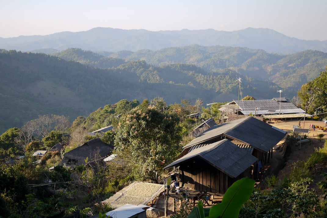 The small Akha Ama coffee village in the mountains near Chiang Mai, Thailand.
