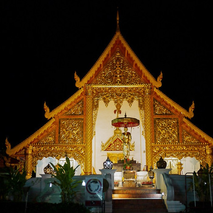 Wat Phra Singh in at night Chiang Mai, Thailand