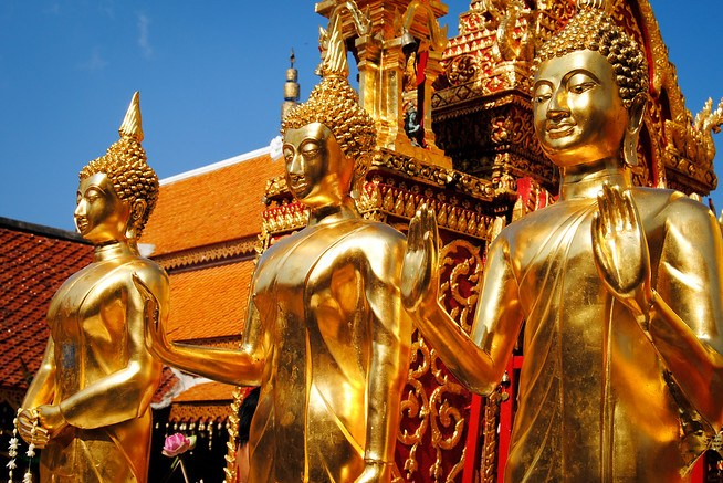 Golden Buddha statues at Doi Suthep temple in Chiang Mai, Thailand