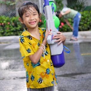 What a cutie pie! I think that gun is bigger than her, Songkran in Chiang Mai, Thailand