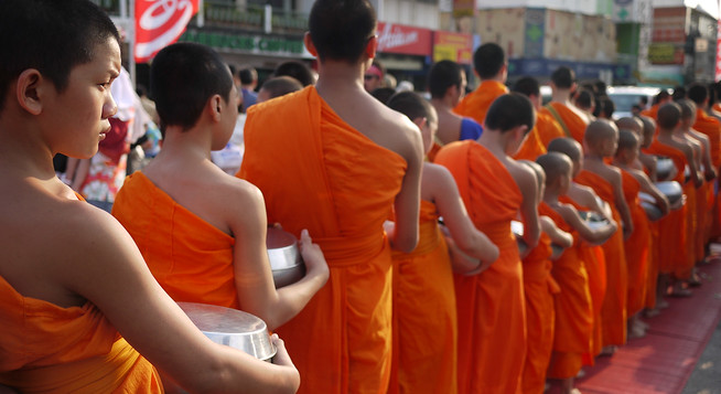 Alms Monks in Chiang Mai, Thailand