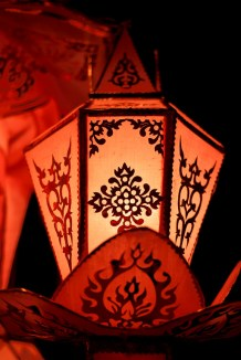 A delicate pink lantern hanging for Loy Krathong and Yee Peng in Chiang Mai, Thailand
