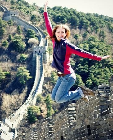 jumping shot great wall of china