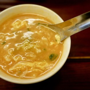 Delicious dumpling and egg soup.