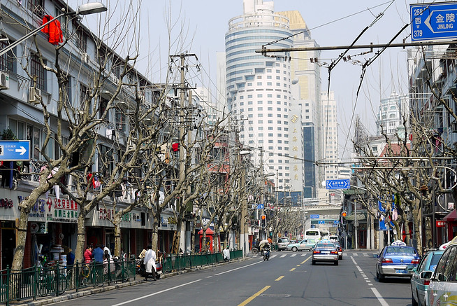 Residential street in Shanghai, China