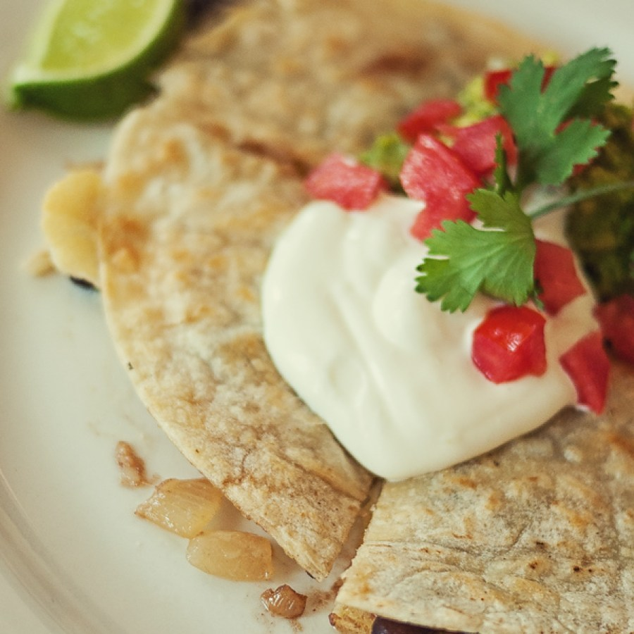 Lunchtime black bean and pepper quesadilla