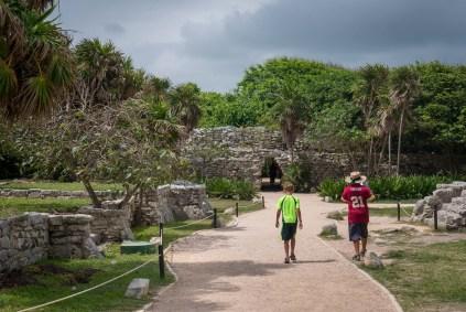 the boys exploring the ruins