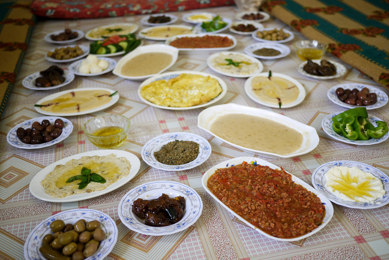 Vegetarian food guide to the middle east a jordanian meal laid out family style and ready for the sampling a jordanian meal laid out family style and ready for the sampling forumfinder Gallery