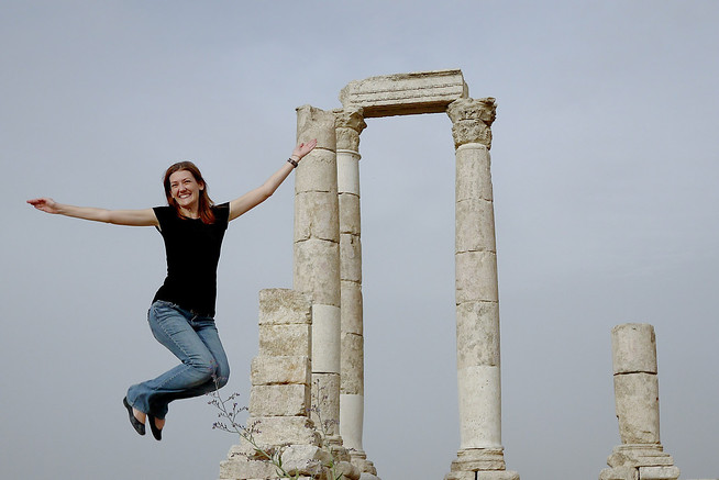 Jumping at the Amman Citadel in Jordan's capital city.