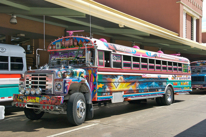 Decorative chicken buses are the way to travel through Central America, Panama