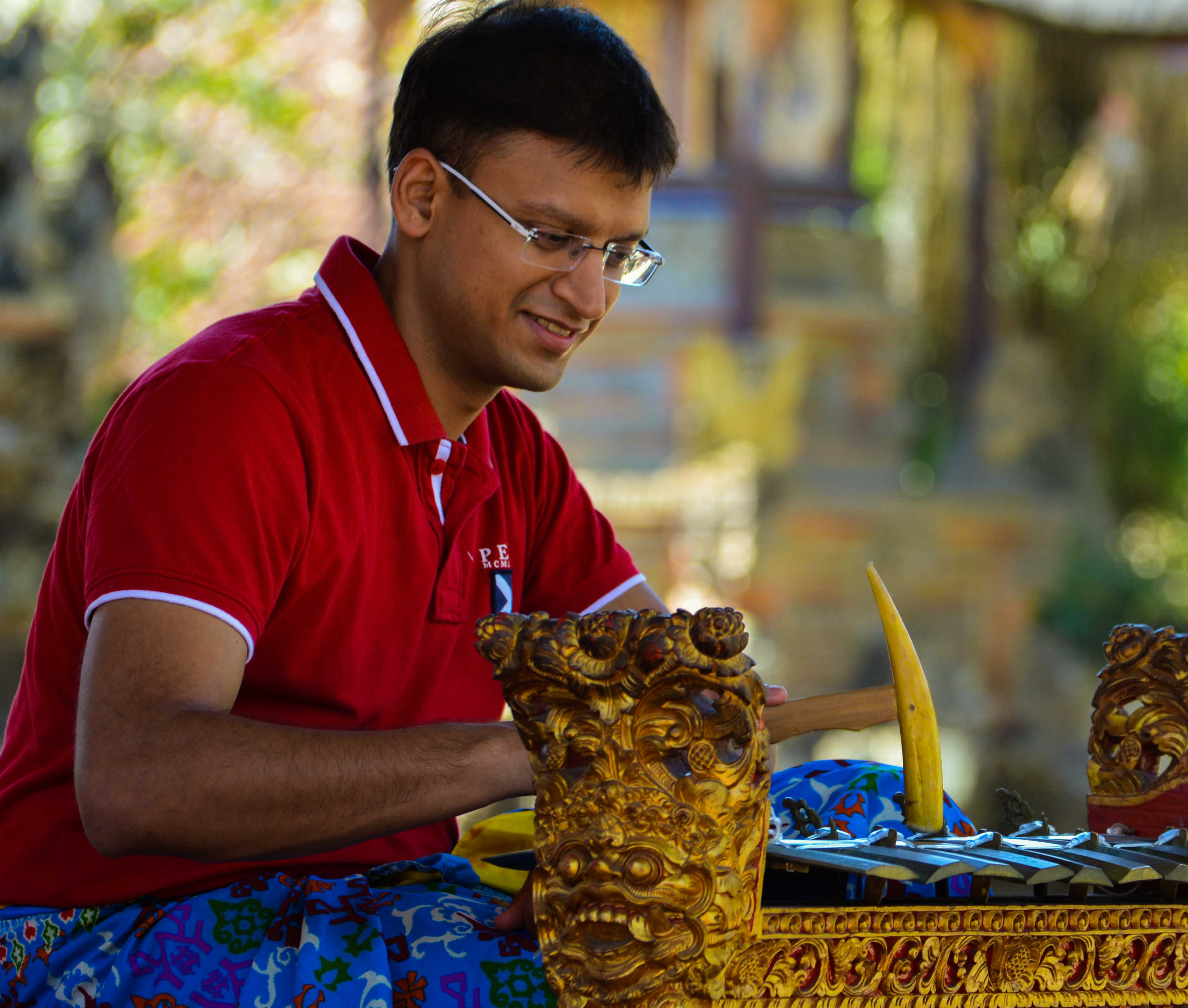 Akshat Trying His Hand on the Balinese Instrument