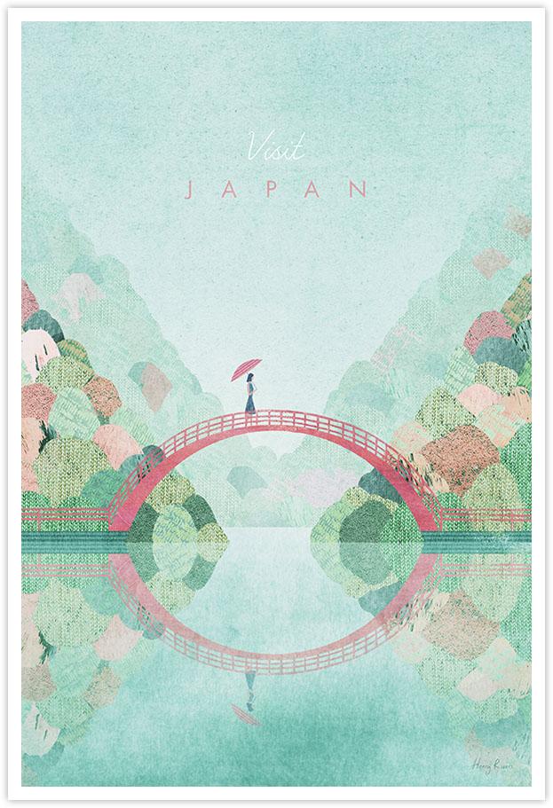 japan autumn vintage travel poster