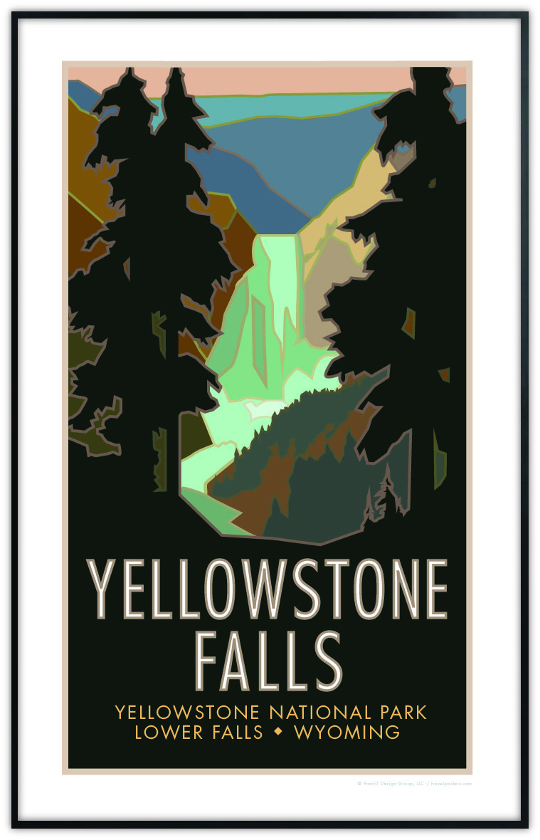 yellowstone falls yellowstone national park wyoming poster