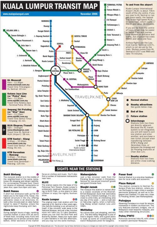 Bản đồ tàu điện MRT Kuala Lumpur