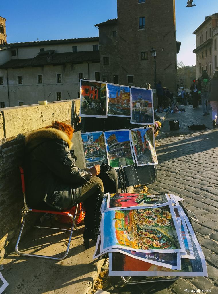 Nghệ sỹ trên cầu qua sông Tiber