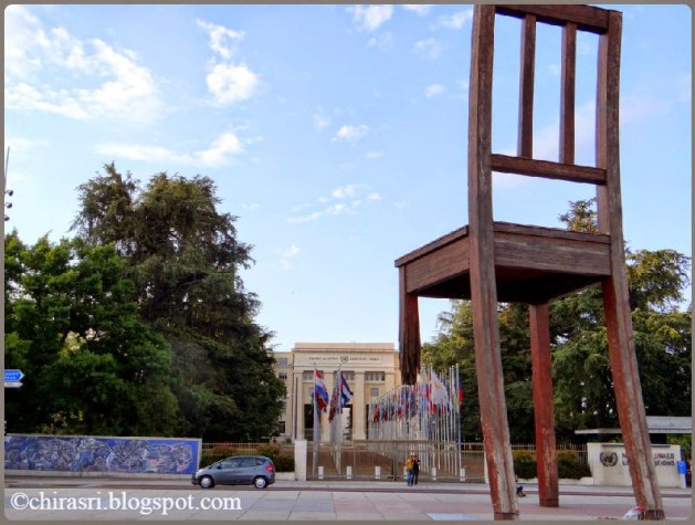 The Broken Chair - A symbol of peace in Geneva, Switzerland.