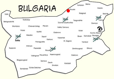 Map of Bulgaria with Rousse