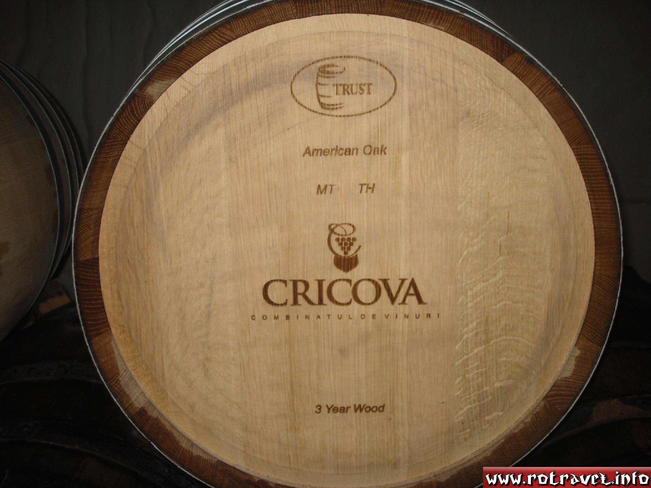 A common barrel in the subways of Cricova,made of American oak. The wine changes its taste if it's kept in this kind of cask.