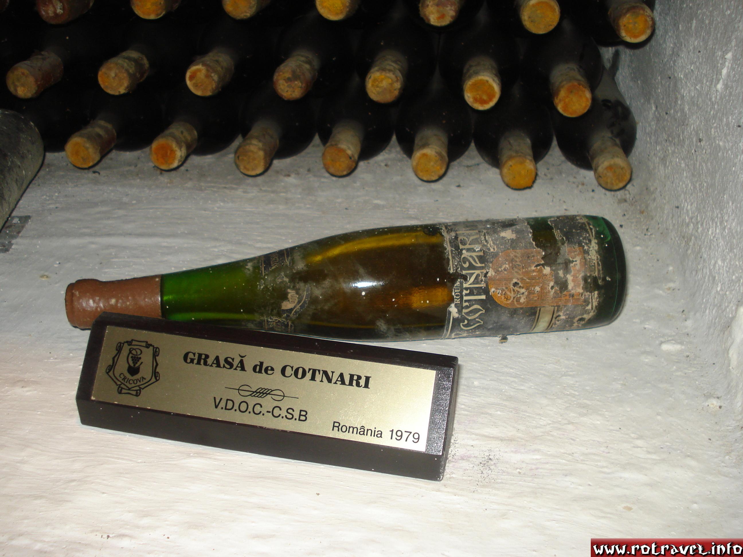 "A Romanian ""Grasa de Cotnari"" wine bottle, from 1979."