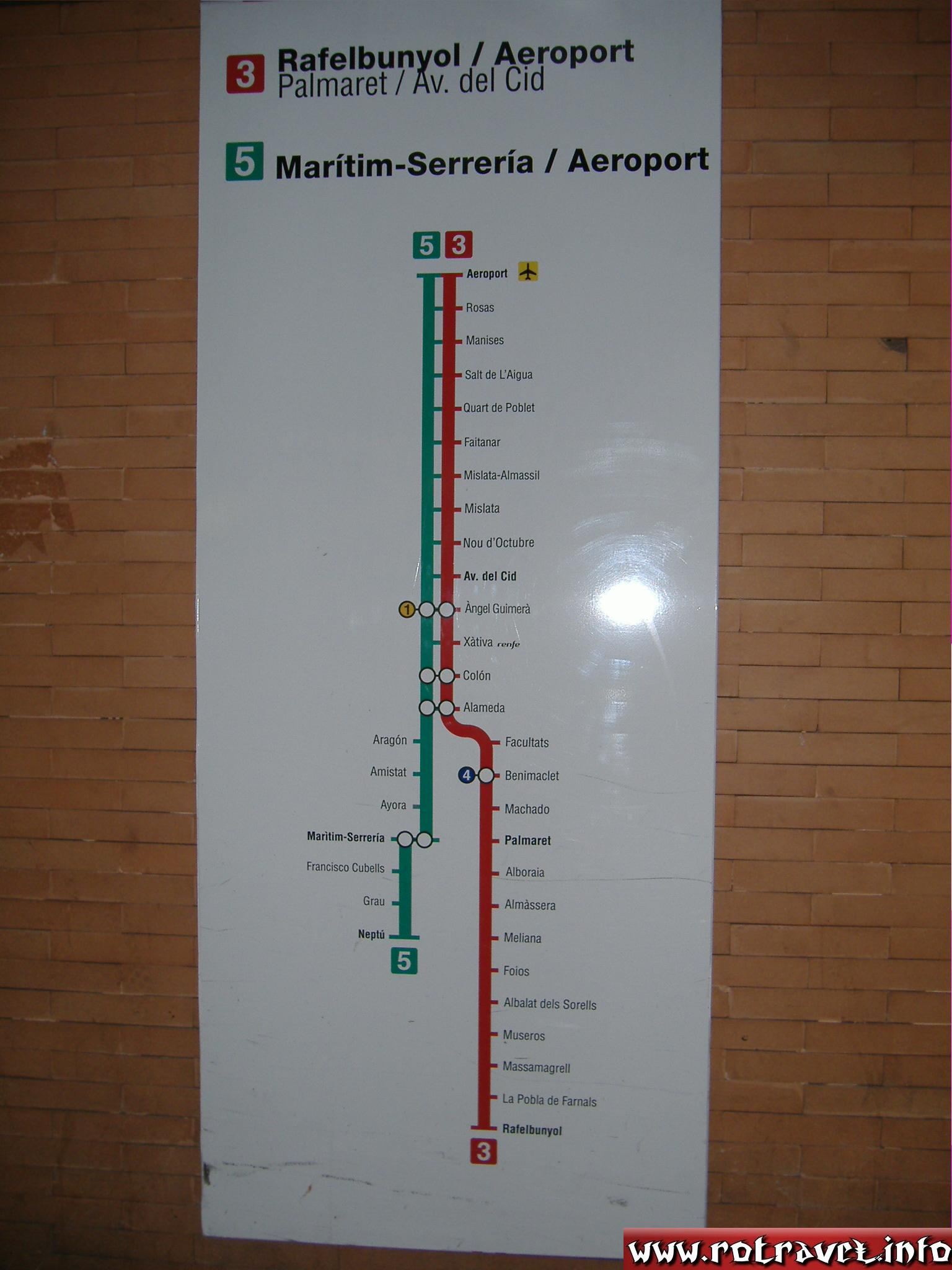 A map at Valencia Metro (metrovalencia)