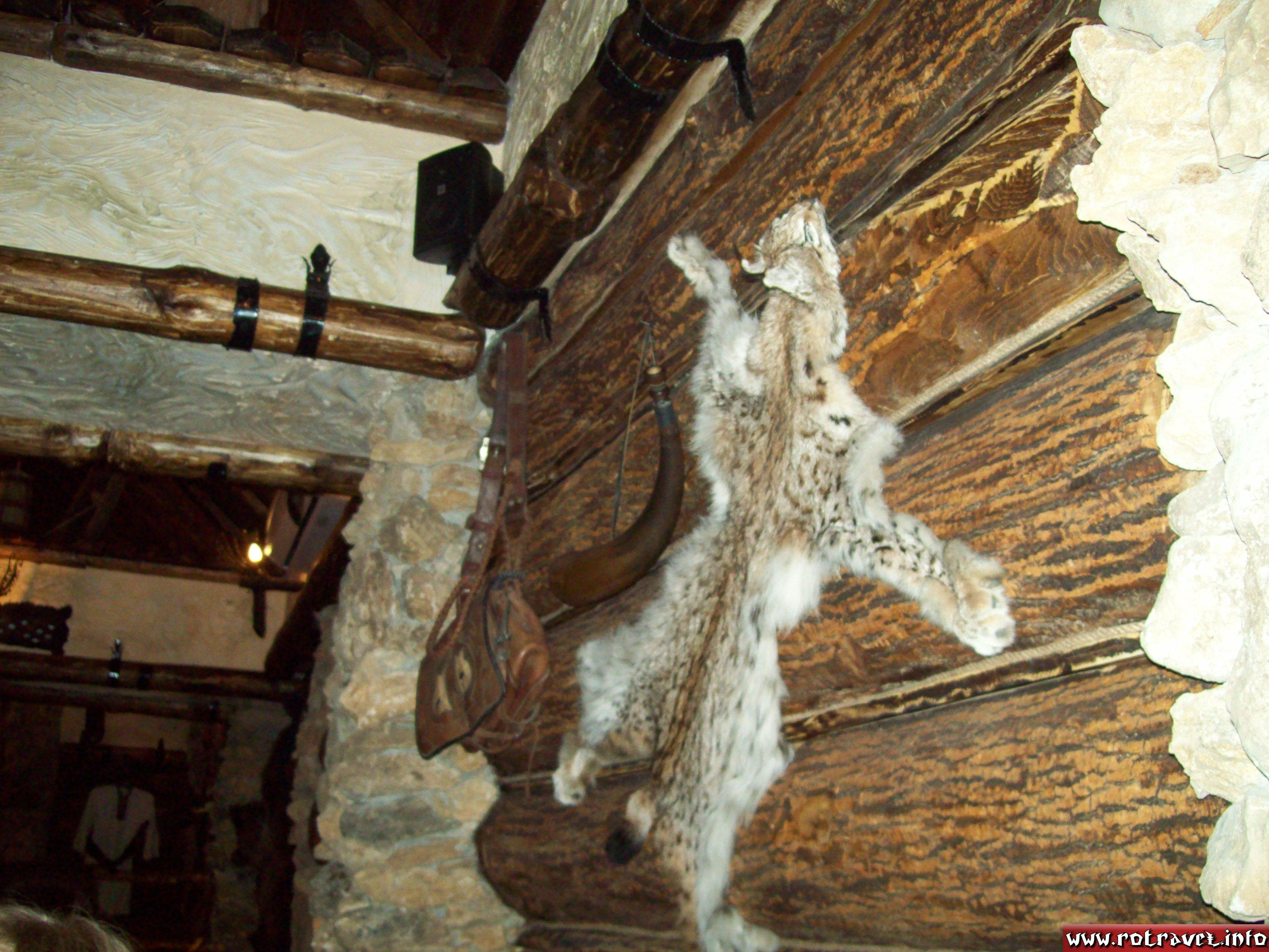 The walls are decorated with natural animal skin