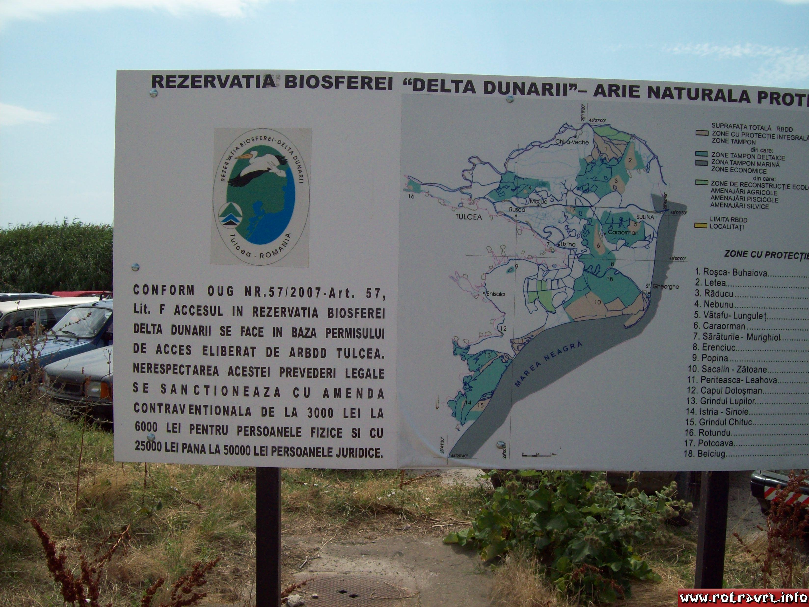 A panel with the map of the Danube Delta Biosphere Reservation