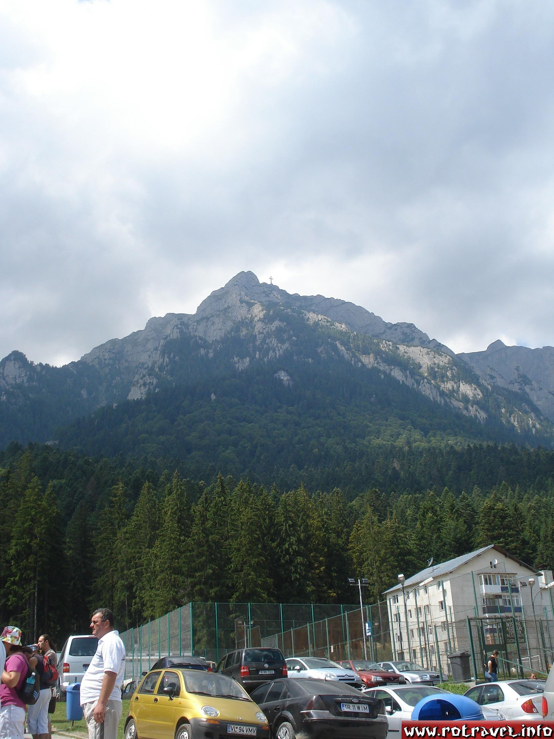 A view of mountains in front of gondola lift start,near to Silva Hotel