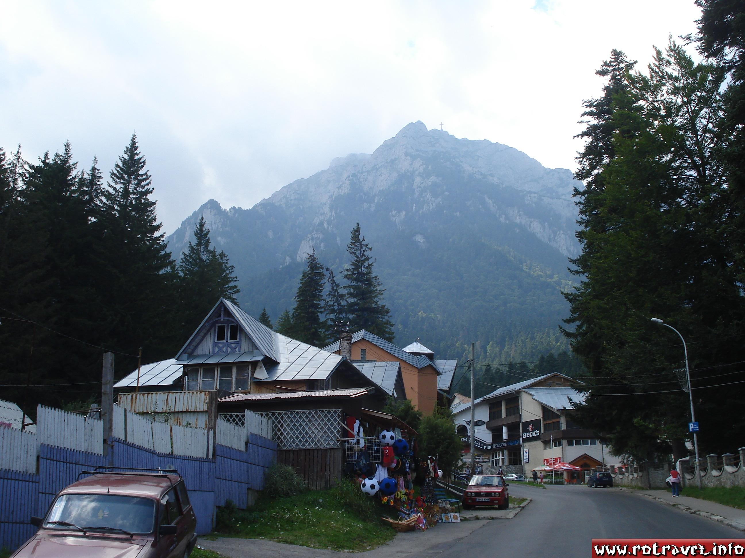 On the road which goes to gondola lift.Here you can find a lot of arbors with traditional romanian souvenirs,bars and restaurants
