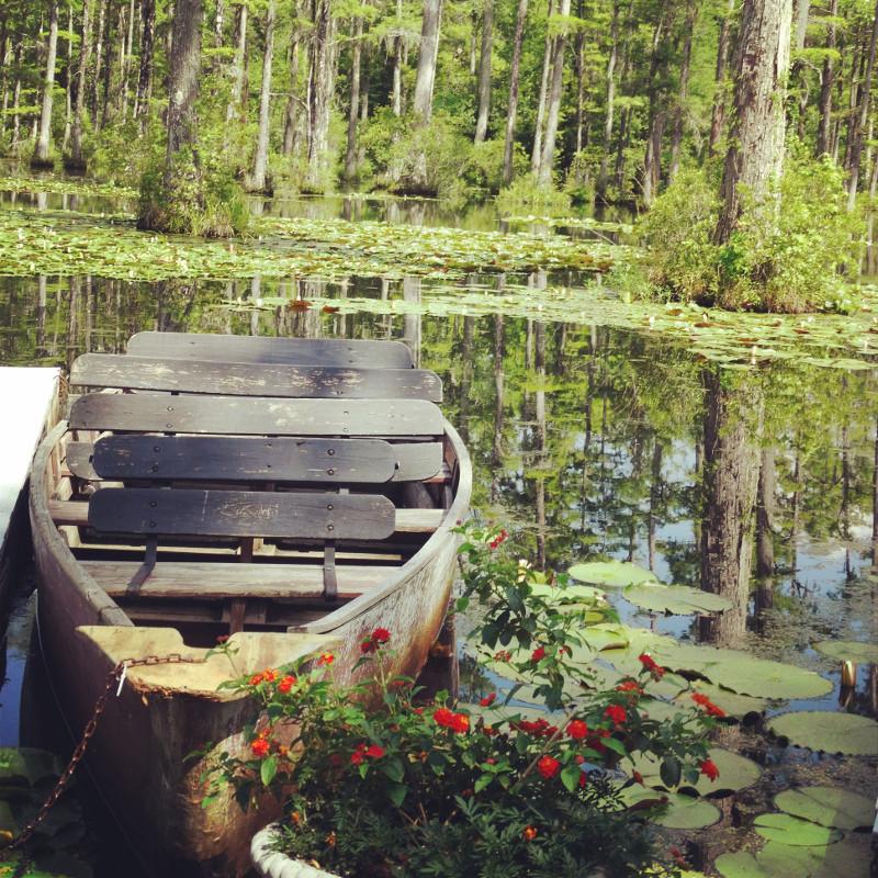 Boot am Steg Cypress Gardens