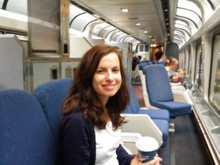Coffee time Sightseer Lounge Amtrak train