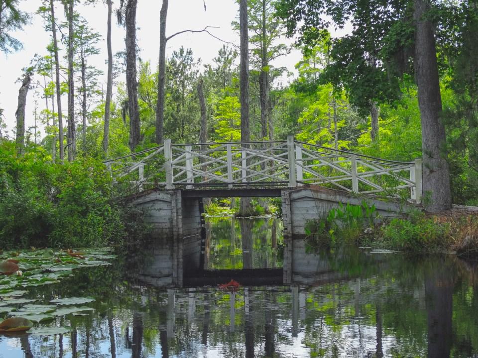Hübsche kleine Brücken im Cypress Gardens South Carolina