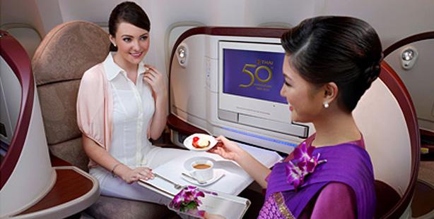 タイ航空 ヘリンボーン式 ビジネスクラスシート