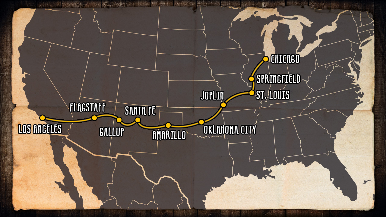 map of route 66 across america