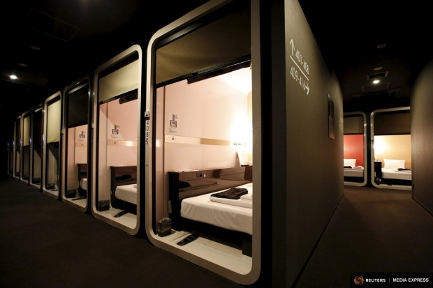 """Business-class"" cabins are seen at First Cabin hotel, which was converted from an old office building, in Tokyo, July 3, 2015. REUTERS/Toru Hanai"
