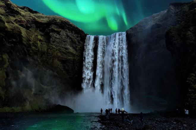 Troll Peninsula and northern lights, Iceland