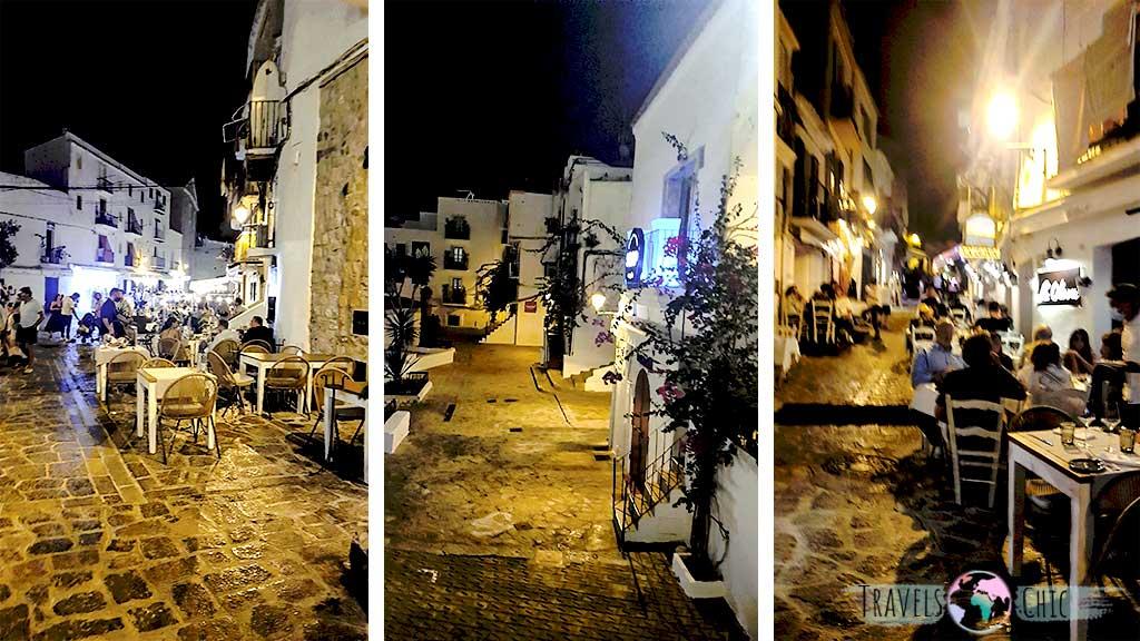 Una de las mejores cosas que ver en Ibiza, las calles de Dalt Vila llenas de restaurantes y bares.