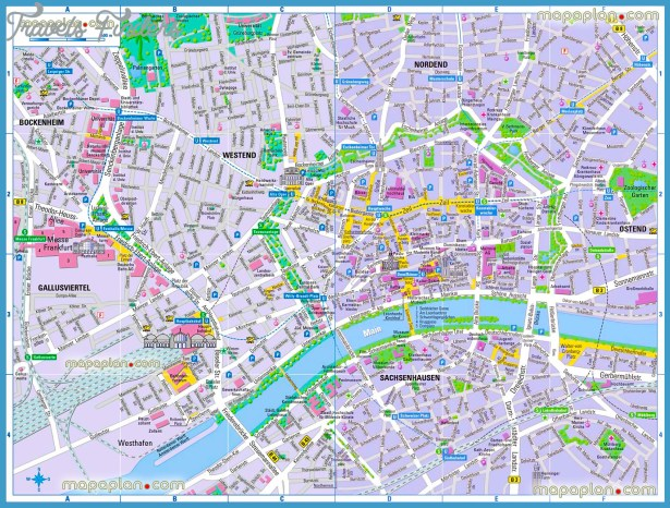 Map Germany Frankfurt Tourist