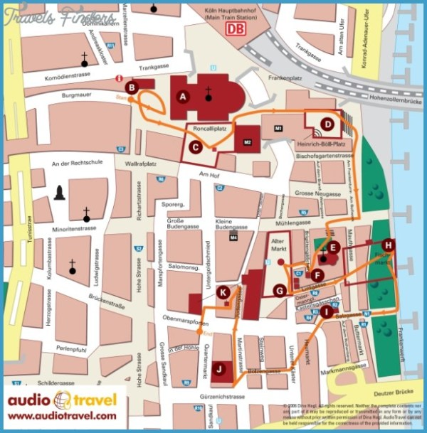 Cologne Map Tourist Attractions TravelsFindersCom