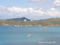 Looking from Havensight toward Crown Bay, the other area where cruise ships dock. On this day (March 26), Carnival Glory and Royal Princess were docked at Crown Bay