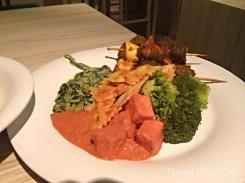 Vegetable kabob, broccoli, pasta, paneer, spinach