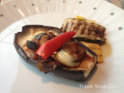Appetizer: Mediterranean Ratatouille in a baked eggplant with soft mozzarella
